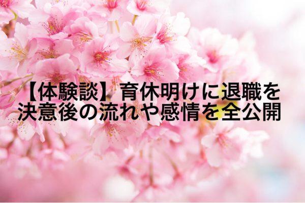 【体験談】育休明けに退職を決意後の流れや感情を全て公開